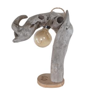 Lampe «Rhinoféroce» en bois flotté